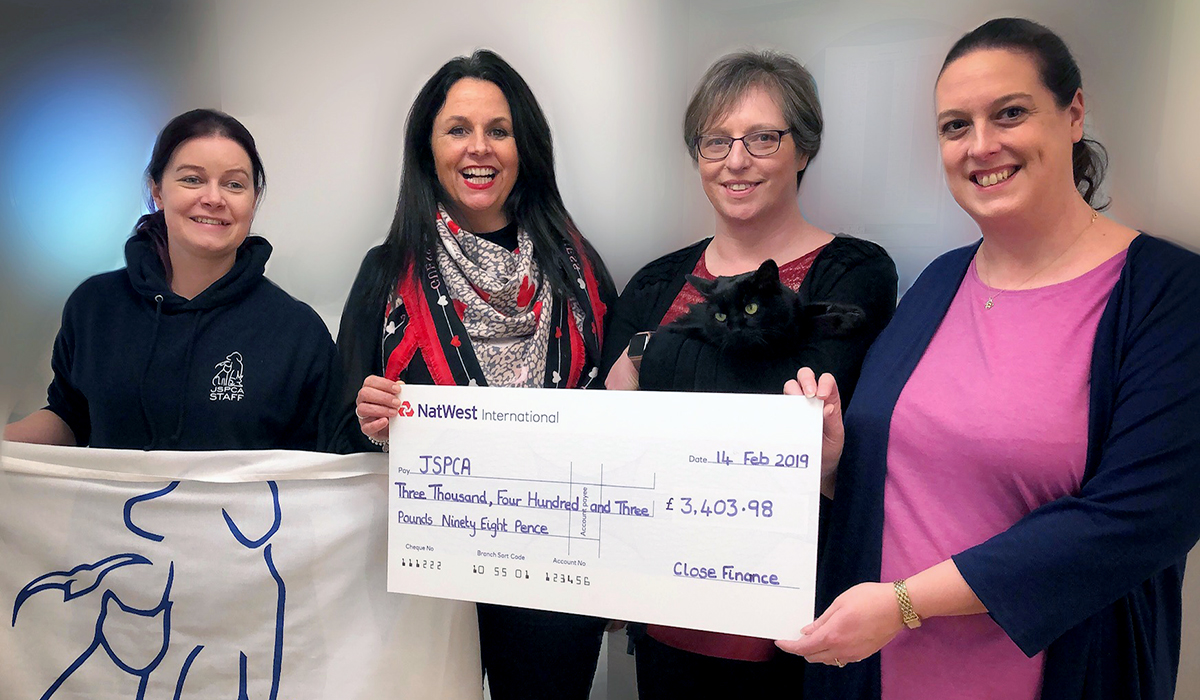 Close Finance Raises £3403 98 For JSPCA's Save Our Shelter Campaign